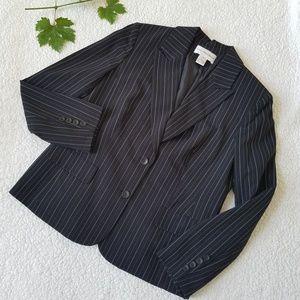 Jones New York Black Pin Striped Suit Work Blazer
